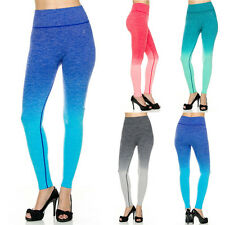 Women Premium Active Wear Seamless Workout Yoga Ombre Ankle Leggings Tight