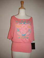 Women's Sinful by Affliction Uprising top Pink Stripe 05KN428 Sz XS S M NWT