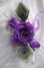 Peacock Feathers Purple Roses Wrist*Pin Corsage*Boutonniere*wedding*Prom*party