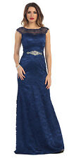 Long Lace Evening Plus Size Beaded Waist Band Formal Prom Dress