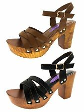 Womens Stacked Platform Sandals Chunky Block High Heels Strappy Studded Clogs