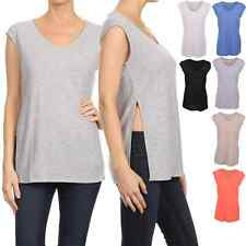 Women Casual Ribbed Knit V Neck Side Slit Open Sleeveless Tunic Tank Top S - 3XL