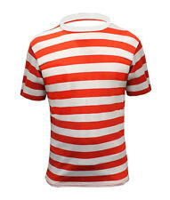 New Mens Short Sleeve Red And White Stripe Cotton T-Shirt Top Size S - XXl