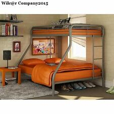 Bunk Beds Twin Over Full Bedroom Loft with Safety Bed Rails Climb Ladder Stairs