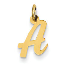 14K Yellow Gold Small Script Initial Letter Alphabet Charm / Pendant