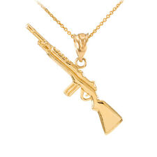 14k Yellow Gold Rifle with Magazine Pendant Necklace