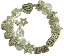 PERSONALISED CHARM BRACELET Any Name SWAROVSKI BIRTHSTONE HEART April CRYSTAL