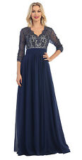 Mother of the Bride Three Quarter Sleeve Lace Modest Formal Dress
