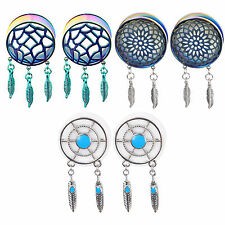 2x Retro Dream Catcher Feathers Dangle Ear Plug Flesh Tunnel 8-25mm Hot Expander