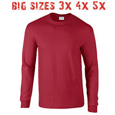 Big 3X 4X 5X Men's Long Sleeve T Shirt Plain Blank Unisex 3XL 4XL 5XL Cardinal
