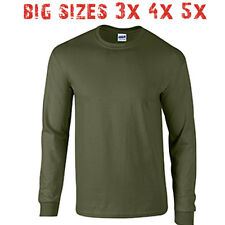 Big 3X 4X 5X Men's Long Sleeve T Shirt Plain Unisex 3XL 4XL 5XL Military Green