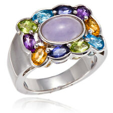 PURPLE CHALCEDONY & MULTI-COLOR GEMSTONE SOLID 925 STERLING SILVER RING SZ 7 8 9