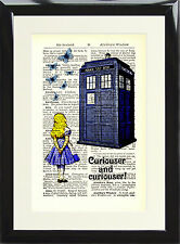 Alice in Wonderland Tardis Antique Dictionary Page Art Print Doctor Who Curious