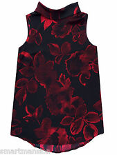 New Ex Next Ladies Black Sleeveless Roll Neck Floral Print Blouse Top Size 10-18