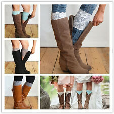 Pretty Stretch Lace Boot Cuffs Flower Leg Warmers Lace Trim Toppers Socks Color