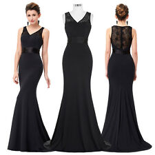 Womens Long Black Lace Cocktail Evening Party Prom Formal Bridesmaid Gown Dress