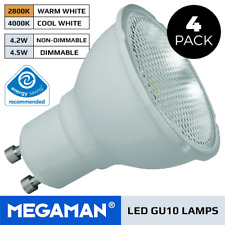 4 X MEGAMAN GU10 LED LAMPS 3.6W OR 5W MAINS DIMMABLE OR NON DIMMABLE COOL / WARM