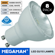 8 X MEGAMAN 3.6W OR 5W GU10 LED BULBS DIMMABLE OR NON DIMMABLE 240V WARM / COOL