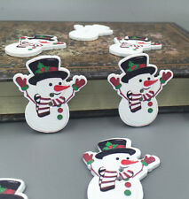 FREE 2Holes Christmas Snowman Wooden Sewing Buttons Sewing Scrapbooking 35mm
