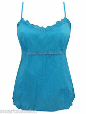 New Ex M&S Ladies Pure Cotton Lace Trimmed Strappy Camisole Vest Top Size 12