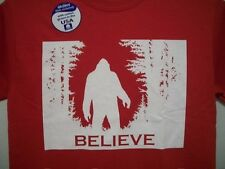 New BELIEVE BIGFOOT T-SHIRT Mens Sasquatch Big Foot Red
