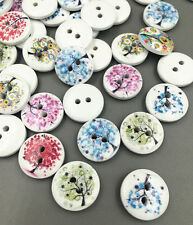 50/100pcs Mixed Tree Pattern 2 Holes Wood Buttons Sewing Scrapbooking Crafts 15m