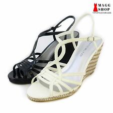 New Womens Bandolino Black White wedge High Heel strapped buckle shoes