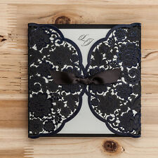 Black Floral Cut-out Wedding Invitation Cards With Bowknot and Envelopes, Seals