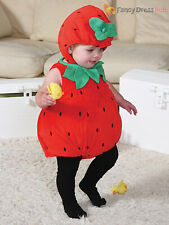 Baby Toddler Deluxe Strawberry Costume Girl Fruit Fancy Dress Up Outfit Bodysuit