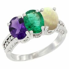 14k White Gold Natural Amethyst, Emerald & Opal Ring 3-Stone Oval 7x5mm Ring