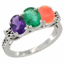 14k White Gold Natural Amethyst, Emerald & Coral 3-Stone Oval 7x5mm Ring