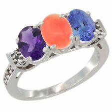 14k White Gold Natural Amethyst, Coral & Tanzanite 3-Stone Oval 7x5mm Ring