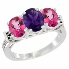 14k White Gold Natural Amethyst & Pink Topaz 3-Stone Oval Cut Diamond Ring