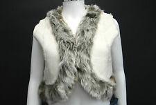 BNWT LADIES CREAM FAUX SUEDE  WITH FUR TRIM GILET WAISTCOAT SIZE 10/12/14