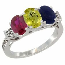 14k White Gold Enhanced Ruby, Natural Lemon Quartz & Lapis 3-Stone Oval Cut Ring