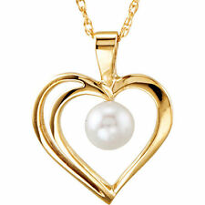 """4 mm Genuine Akoya Cultured Pearl Heart Pendant 18"""" Necklace in 14K. Yellow Gold"""