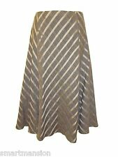 New Ladies Ex M&S Brown Striped Panelled Flared Long Maxi Skirt Size 14-18