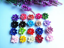 50pcs-100PCS Satin Ribbon Flower with Crystal Bead Appliques~Craft/Trim