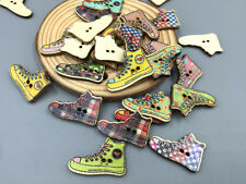 Retro Canvas shoes Wooden Buttons Sewing Scrapbooking Appliques Decorations 27mm
