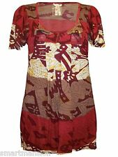 New Ex Next Ladies Girls Red Sequined Flared Sleeve Printed Tunic Top Dress 8-14