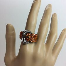 Buckle Fashion Ring, Two Tone Crystals, Adjustable Women's Size