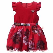 Red Formal Baby Princess Bridesmaid Flower Girl Dresses Wedding Party Dresses