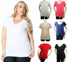 Sexy V- Neck Short Slv T-SHIRTS Cotton Stretch Casual Comfy Basic Top Solid Plus