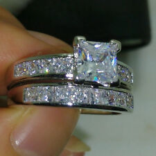 Sz 5-10 18K White Gold Filled Cubic Zirconia Womens Wedding Engagement Ring Set