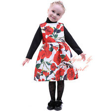 Baby Girls Red Rose Flower Fancy Dress Princess Birthday Wedding Party Dresses