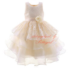 Formal Lace Baby Princess Bridesmaid Flower Girl Layered Dress Wedding Party NEW