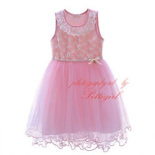 NEW Wedding Party Formal Flower Girls Dresses Baby Lace Tulle Pageant Dresses