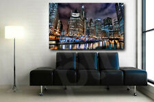 Chicago River City At Night Skyline Canvas Fine Art Poster Print Home Wall Decor