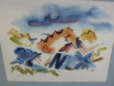MOUNTAIN LANDSCAPE ABSTRACT WATERCOLOR PANTING 50'S SIGNED
