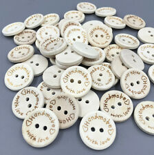 "Beige  Wooden Buttons Sewing ""handmade""""with love"" Scrapbooking Crafts 20mm"